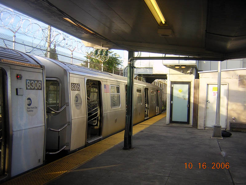 (103k, 800x600)<br><b>Country:</b> United States<br><b>City:</b> New York<br><b>System:</b> New York City Transit<br><b>Line:</b> BMT Canarsie Line<br><b>Location:</b> Rockaway Parkway <br><b>Route:</b> L<br><b>Car:</b> R-143 (Kawasaki, 2001-2002) 8305 <br><b>Photo by:</b> Robert Mencher<br><b>Date:</b> 10/16/2006<br><b>Viewed (this week/total):</b> 0 / 2638