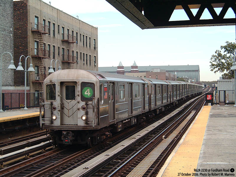 (159k, 800x600)<br><b>Country:</b> United States<br><b>City:</b> New York<br><b>System:</b> New York City Transit<br><b>Line:</b> IRT Woodlawn Line<br><b>Location:</b> Fordham Road <br><b>Route:</b> 4<br><b>Car:</b> R-62A (Bombardier, 1984-1987)  2230 <br><b>Photo by:</b> Robert Marrero<br><b>Date:</b> 10/27/2006<br><b>Viewed (this week/total):</b> 8 / 4304