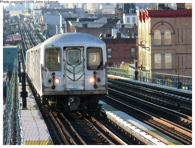 (142k, 660x500)<br><b>Country:</b> United States<br><b>City:</b> New York<br><b>System:</b> New York City Transit<br><b>Line:</b> BMT Nassau Street/Jamaica Line<br><b>Location:</b> Chauncey Street <br><b>Route:</b> J<br><b>Car:</b> R-42 (St. Louis, 1969-1970)   <br><b>Photo by:</b> John Urbanski<br><b>Date:</b> 10/26/2006<br><b>Viewed (this week/total):</b> 0 / 2557