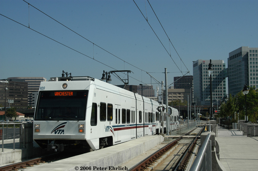 (163k, 864x574)<br><b>Country:</b> United States<br><b>City:</b> San Jose, CA<br><b>System:</b> Santa Clara VTA<br><b>Line:</b> VTA Vasona Line<br><b>Location:</b> San Fernando <br><b>Car:</b> VTA Kinki-Sharyo 909 <br><b>Photo by:</b> Peter Ehrlich<br><b>Date:</b> 10/11/2006<br><b>Notes:</b> Leaving San Fernando Station outbound.<br><b>Viewed (this week/total):</b> 0 / 715