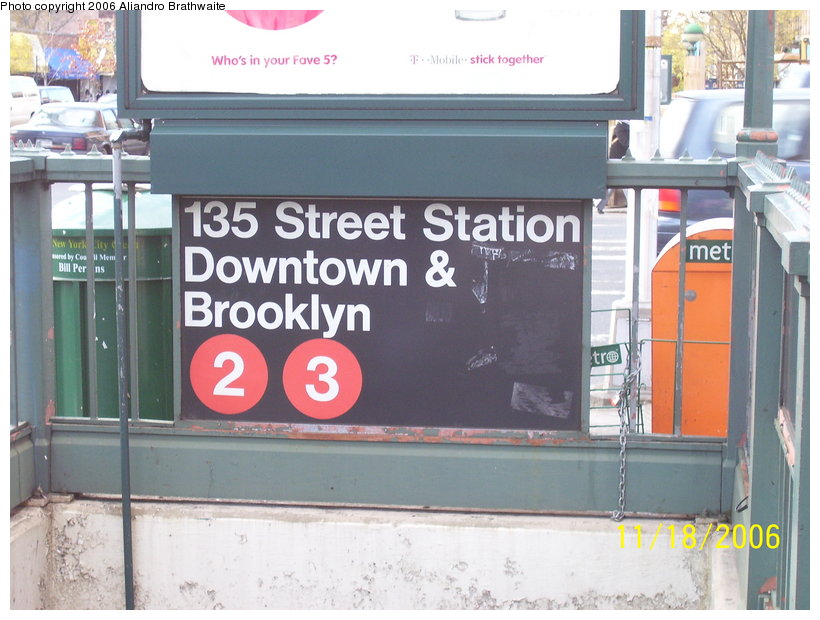 (114k, 820x620)<br><b>Country:</b> United States<br><b>City:</b> New York<br><b>System:</b> New York City Transit<br><b>Line:</b> IRT Lenox Line<br><b>Location:</b> 135th Street <br><b>Photo by:</b> Aliandro Brathwaite<br><b>Date:</b> 11/18/2006<br><b>Viewed (this week/total):</b> 3 / 1917
