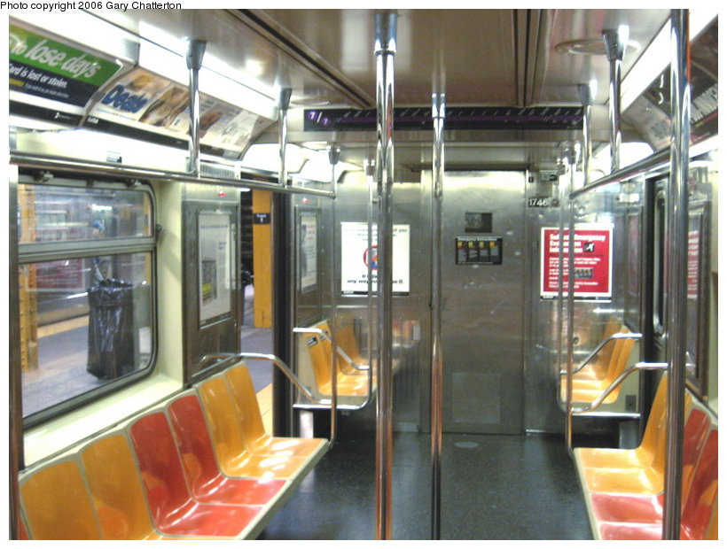 (122k, 820x620)<br><b>Country:</b> United States<br><b>City:</b> New York<br><b>System:</b> New York City Transit<br><b>Route:</b> 7<br><b>Car:</b> R-62A (Bombardier, 1984-1987)  1746 <br><b>Photo by:</b> Gary Chatterton<br><b>Date:</b> 11/18/2006<br><b>Notes:</b> Interior R62A cars showing location of closed-down full width cabs.<br><b>Viewed (this week/total):</b> 0 / 2259