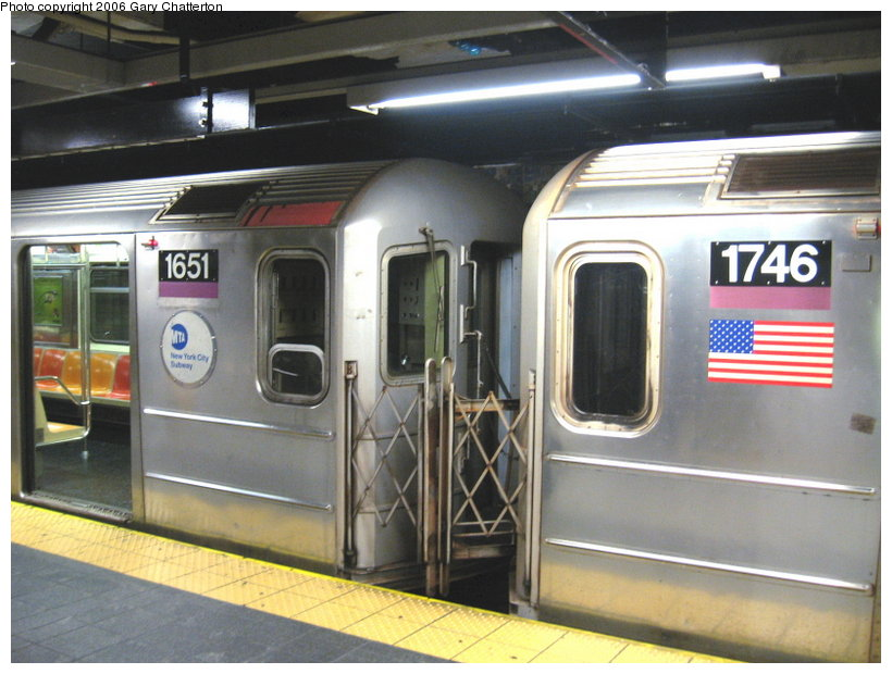 (108k, 820x620)<br><b>Country:</b> United States<br><b>City:</b> New York<br><b>System:</b> New York City Transit<br><b>Line:</b> IRT Flushing Line<br><b>Location:</b> Main Street/Flushing <br><b>Route:</b> 7<br><b>Car:</b> R-62A (Bombardier, 1984-1987)  1651/1746 <br><b>Photo by:</b> Gary Chatterton<br><b>Date:</b> 11/18/2006<br><b>Notes:</b> Exterior R62A cars showing location of full-width cab window of car with closed-up cab.<br><b>Viewed (this week/total):</b> 3 / 4269
