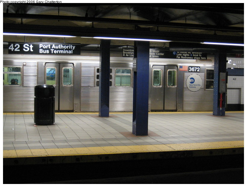 (107k, 820x620)<br><b>Country:</b> United States<br><b>City:</b> New York<br><b>System:</b> New York City Transit<br><b>Line:</b> IND 8th Avenue Line<br><b>Location:</b> 42nd Street/Port Authority Bus Terminal <br><b>Route:</b> E<br><b>Car:</b> R-32 (Budd, 1964)  3672 <br><b>Photo by:</b> Gary Chatterton<br><b>Date:</b> 11/4/2006<br><b>Viewed (this week/total):</b> 0 / 4534