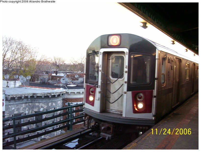 (126k, 820x620)<br><b>Country:</b> United States<br><b>City:</b> New York<br><b>System:</b> New York City Transit<br><b>Line:</b> IRT Brooklyn Line<br><b>Location:</b> New Lots Avenue <br><b>Route:</b> 4<br><b>Car:</b> R-142A (Option Order, Kawasaki, 2002-2003)  7710 <br><b>Photo by:</b> Aliandro Brathwaite<br><b>Date:</b> 11/24/2006<br><b>Viewed (this week/total):</b> 6 / 3922