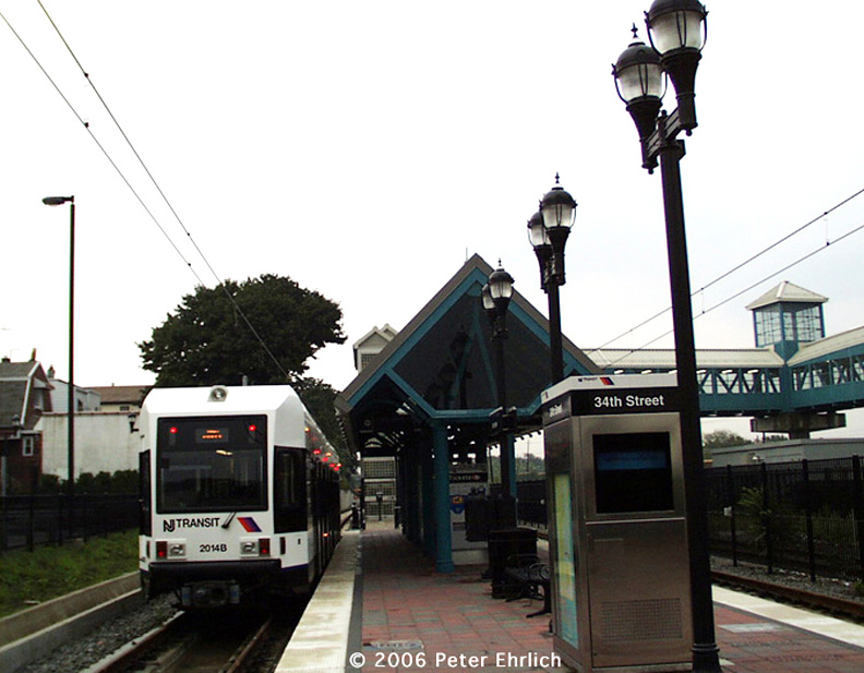 (152k, 792x617)<br><b>Country:</b> United States<br><b>City:</b> Bayonne, NJ<br><b>System:</b> Hudson Bergen Light Rail<br><b>Location:</b> East 34th Street <br><b>Car:</b> NJT-HBLR LRV (Kinki-Sharyo, 1998-99)  2014 <br><b>Photo by:</b> Peter Ehrlich<br><b>Date:</b> 8/27/2001<br><b>Notes:</b> E. 34th Street Station, at the time the south terminal.<br><b>Viewed (this week/total):</b> 0 / 1325