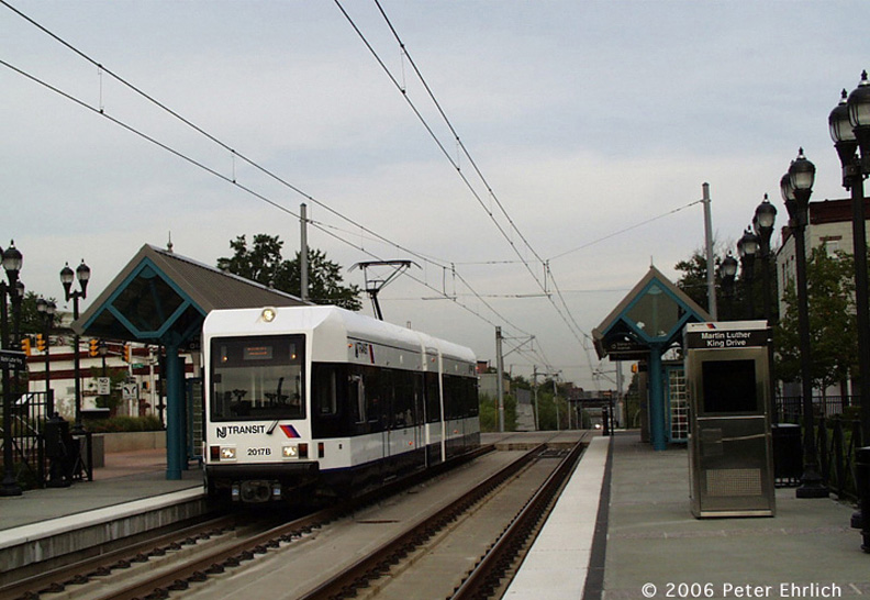 (157k, 792x546)<br><b>Country:</b> United States<br><b>City:</b> Jersey City, NJ<br><b>System:</b> Hudson Bergen Light Rail<br><b>Location:</b> Martin Luther King Drive <br><b>Car:</b> NJT-HBLR LRV (Kinki-Sharyo, 1998-99)  2017 <br><b>Photo by:</b> Peter Ehrlich<br><b>Date:</b> 8/28/2001<br><b>Notes:</b> M. L. King Station inbound.<br><b>Viewed (this week/total):</b> 0 / 1816