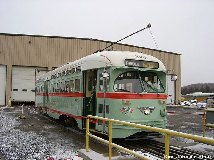 (162k, 720x540)<br><b>Country:</b> United States<br><b>City:</b> Brookville, PA<br><b>System:</b> Brookville Equipment<br><b>Car:</b> SF MUNI PCC (Ex-NJTransit, Ex-Twin City) (St. Louis Car Co., 1946-1947)  1073 <br><b>Photo by:</b> Karl Johnson<br><b>Collection of:</b> Peter Ehrlich<br><b>Date:</b> 12/8/2006<br><b>Notes:</b> Muni ex-Newark PCC 1073 (El Paso City Lines livery) at Brookville Equipment Co. in Brookvile, Pennsylvania, ready for delivery.  It's due to arrive in San Francisco sometime the week of Dec. 18.<br><b>Viewed (this week/total):</b> 10 / 2447