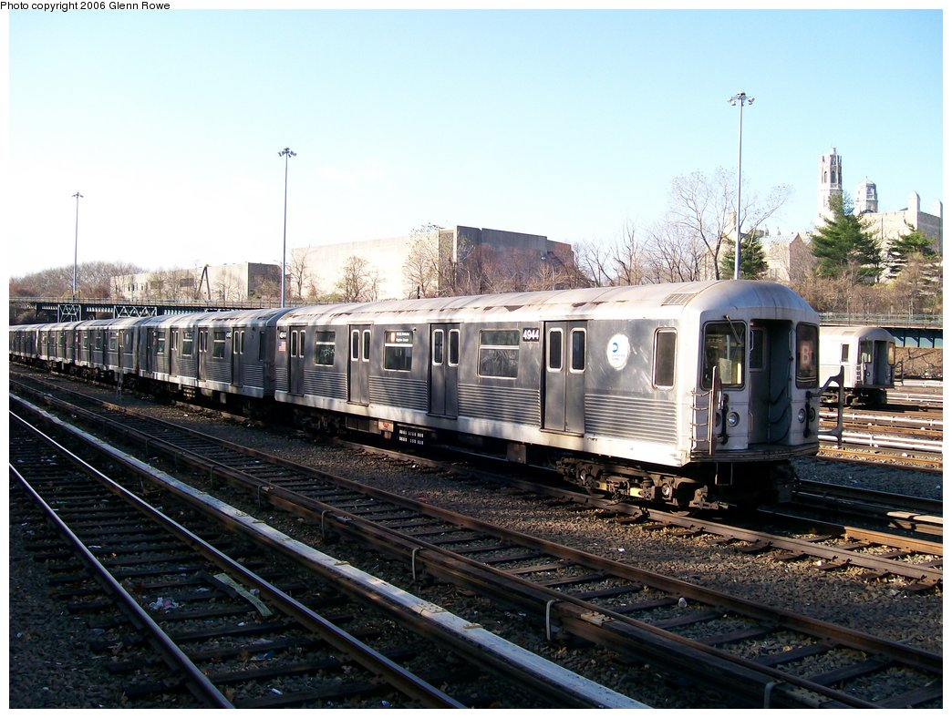 (193k, 1044x788)<br><b>Country:</b> United States<br><b>City:</b> New York<br><b>System:</b> New York City Transit<br><b>Location:</b> Concourse Yard<br><b>Car:</b> R-42 (St. Louis, 1969-1970)  4944 <br><b>Photo by:</b> Glenn L. Rowe<br><b>Date:</b> 12/4/2006<br><b>Viewed (this week/total):</b> 1 / 2589
