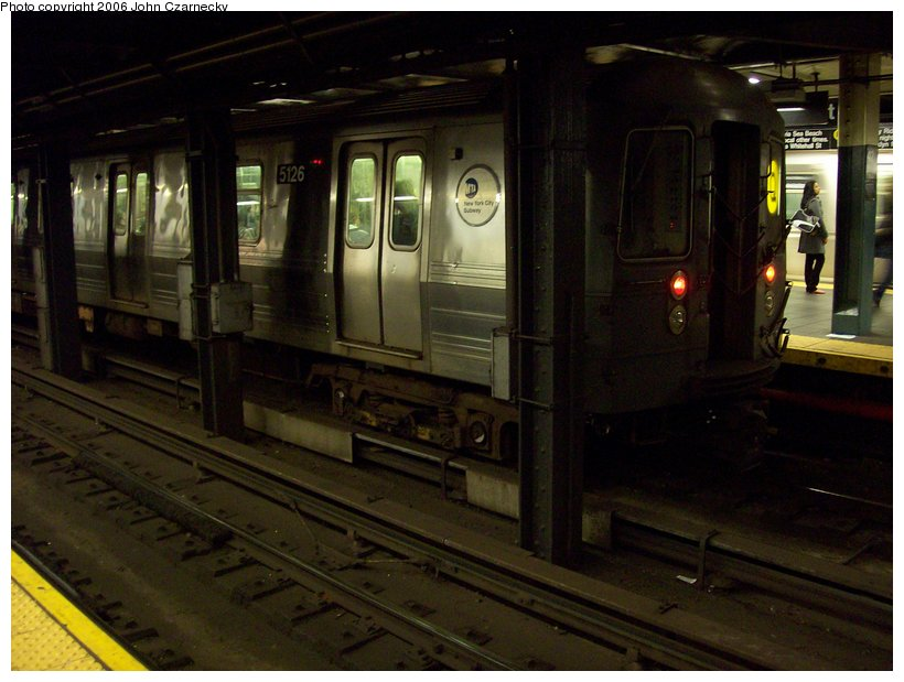 (98k, 820x619)<br><b>Country:</b> United States<br><b>City:</b> New York<br><b>System:</b> New York City Transit<br><b>Line:</b> BMT Broadway Line<br><b>Location:</b> Times Square/42nd Street <br><b>Route:</b> Q<br><b>Car:</b> R-68A (Kawasaki, 1988-1989)  5126 <br><b>Photo by:</b> John Czarnecky<br><b>Date:</b> 11/7/2006<br><b>Viewed (this week/total):</b> 5 / 3382