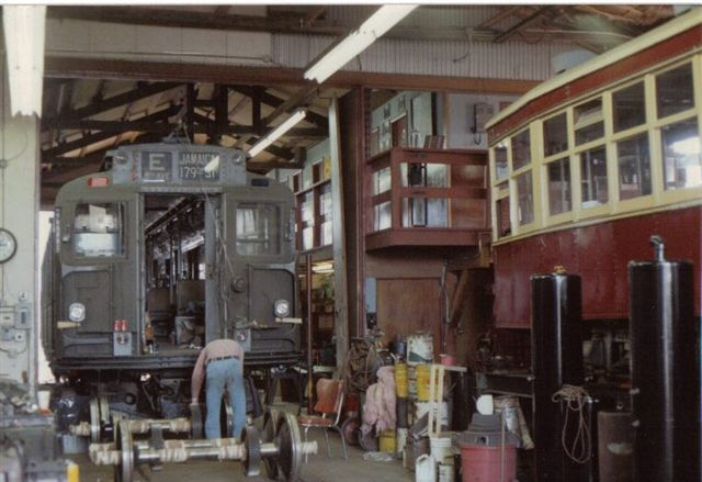 (52k, 640x439)<br><b>Country:</b> United States<br><b>City:</b> East Haven/Branford, Ct.<br><b>System:</b> Shore Line Trolley Museum <br><b>Car:</b> R-9 (American Car & Foundry, 1940)  1689 <br><b>Collection of:</b> Vic Gordon<br><b>Date:</b> 2005<br><b>Notes:</b> R9 1689 in the shop at Shore Line.<br><b>Viewed (this week/total):</b> 0 / 1607