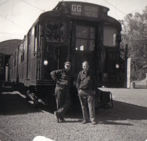 (48k, 511x491)<br><b>Country:</b> United States<br><b>City:</b> East Haven/Branford, Ct.<br><b>System:</b> Shore Line Trolley Museum <br><b>Car:</b> R-9 (American Car & Foundry, 1940)  1689 <br><b>Collection of:</b> Vic Gordon<br><b>Date:</b> 1974<br><b>Notes:</b> 1689 after arriving at Shore Line.<br><b>Viewed (this week/total):</b> 1 / 1132