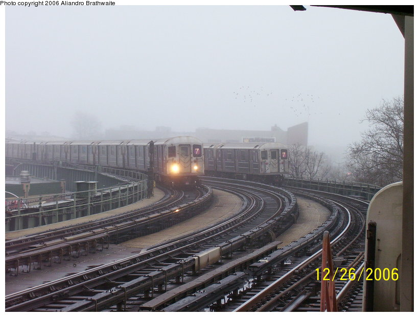 (106k, 820x620)<br><b>Country:</b> United States<br><b>City:</b> New York<br><b>System:</b> New York City Transit<br><b>Line:</b> IRT Flushing Line<br><b>Location:</b> 46th Street/Bliss Street <br><b>Route:</b> 7<br><b>Car:</b> R-62A (Bombardier, 1984-1987)  1741 <br><b>Photo by:</b> Aliandro Brathwaite<br><b>Date:</b> 12/26/2006<br><b>Viewed (this week/total):</b> 0 / 2406