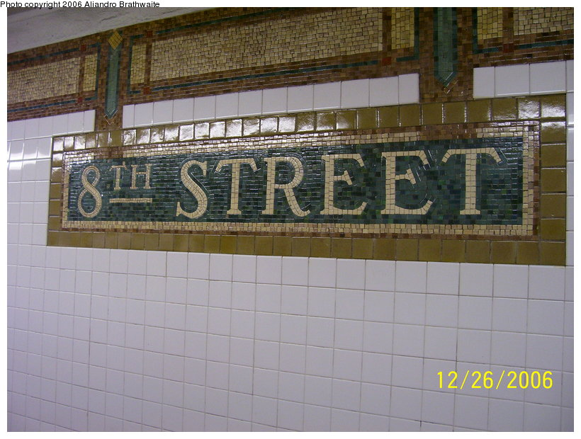 (127k, 820x620)<br><b>Country:</b> United States<br><b>City:</b> New York<br><b>System:</b> New York City Transit<br><b>Line:</b> BMT Broadway Line<br><b>Location:</b> 8th Street <br><b>Photo by:</b> Aliandro Brathwaite<br><b>Date:</b> 12/26/2006<br><b>Viewed (this week/total):</b> 0 / 1204