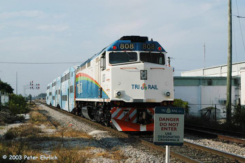 (148k, 792x526)<br><b>Country:</b> United States<br><b>City:</b> Miami, FL<br><b>System:</b> Miami Tri-Rail<br><b>Location:</b> Metrorail Transfer (Metrorail, Amtrak) <br><b>Car:</b>  808 <br><b>Photo by:</b> Peter Ehrlich<br><b>Date:</b> 4/25/2003<br><b>Viewed (this week/total):</b> 4 / 2510