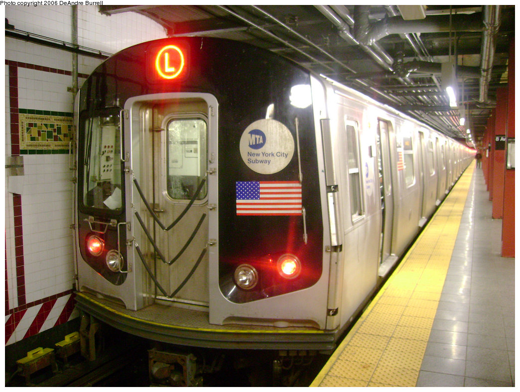 (258k, 1044x788)<br><b>Country:</b> United States<br><b>City:</b> New York<br><b>System:</b> New York City Transit<br><b>Line:</b> BMT Canarsie Line<br><b>Location:</b> 8th Avenue <br><b>Route:</b> L<br><b>Car:</b> R-143 (Kawasaki, 2001-2002) 8297 <br><b>Photo by:</b> DeAndre Burrell<br><b>Date:</b> 12/28/2006<br><b>Viewed (this week/total):</b> 4 / 2071