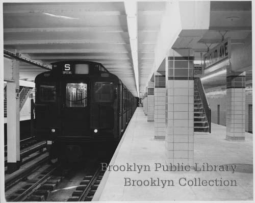 (26k, 500x398)<br><b>Country:</b> United States<br><b>City:</b> New York<br><b>System:</b> New York City Transit<br><b>Line:</b> IND Fulton Street Line<br><b>Location:</b> Euclid Avenue <br><b>Collection of:</b> Brooklyn Public Library (via Herbert Maruska)<br><b>Date:</b> 1948<br><b>Notes:</b> Newly opened Eulicd Ave. station in 1948.<br><b>Viewed (this week/total):</b> 0 / 2744