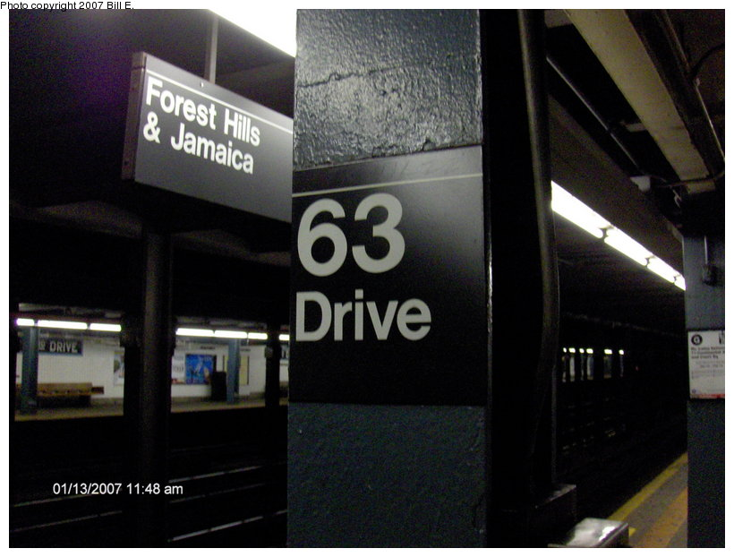 (95k, 820x622)<br><b>Country:</b> United States<br><b>City:</b> New York<br><b>System:</b> New York City Transit<br><b>Line:</b> IND Queens Boulevard Line<br><b>Location:</b> 63rd Drive/Rego Park <br><b>Photo by:</b> Bill E.<br><b>Date:</b> 1/13/2007<br><b>Notes:</b> I-Beam sign.<br><b>Viewed (this week/total):</b> 1 / 1390