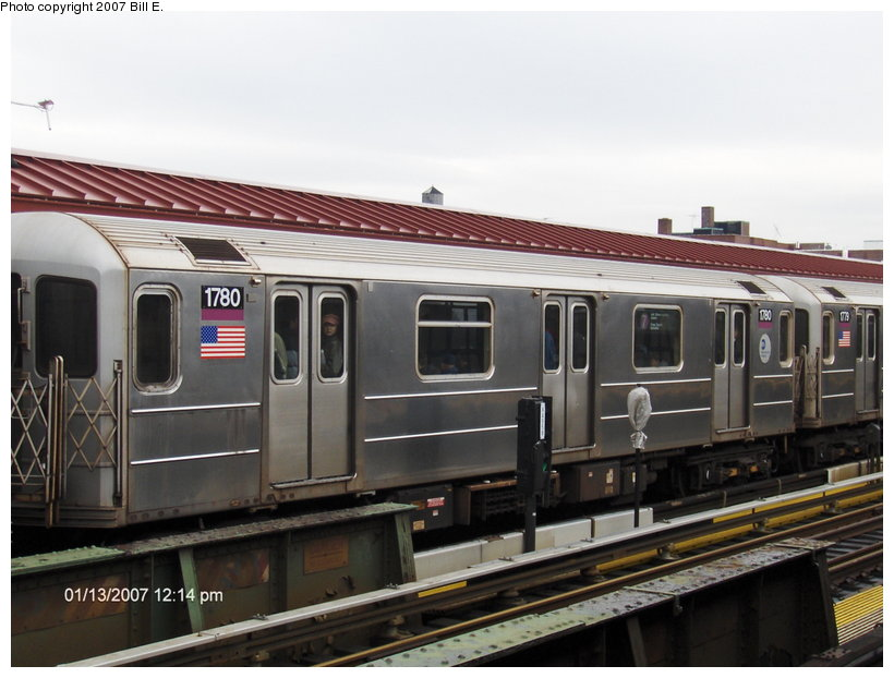 (97k, 820x622)<br><b>Country:</b> United States<br><b>City:</b> New York<br><b>System:</b> New York City Transit<br><b>Line:</b> IRT Flushing Line<br><b>Location:</b> 74th Street/Broadway <br><b>Route:</b> 7<br><b>Car:</b> R-62A (Bombardier, 1984-1987)  1780 <br><b>Photo by:</b> Bill E.<br><b>Date:</b> 1/13/2007<br><b>Viewed (this week/total):</b> 6 / 1511