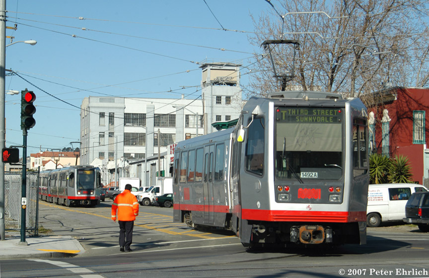 (215k, 864x561)<br><b>Country:</b> United States<br><b>City:</b> San Francisco/Bay Area, CA<br><b>System:</b> SF MUNI<br><b>Line:</b> MUNI 3rd Street Light Rail<br><b>Location:</b> 3rd Street/Armstrong Ave. Wye <br><b>Car:</b> SF MUNI Breda LRV 1492 <br><b>Photo by:</b> Peter Ehrlich<br><b>Date:</b> 1/15/2007<br><b>Notes:</b> LRV wyeing at Armstrong Avenue Wye, with 1413/1528 in background.<br><b>Viewed (this week/total):</b> 2 / 794