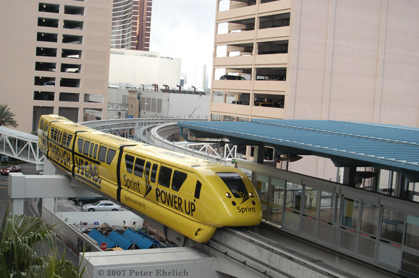 (188k, 864x574)<br><b>Country:</b> United States<br><b>City:</b> Las Vegas, NV<br><b>System:</b> Las Vegas Monorail<br><b>Location:</b> Harrah's/Imperial Palace <br><b>Car:</b>  3 <br><b>Photo by:</b> Peter Ehrlich<br><b>Date:</b> 1/12/2007<br><b>Notes:</b> Approaching/arriving Harrah's Station southbound.<br><b>Viewed (this week/total):</b> 2 / 1379