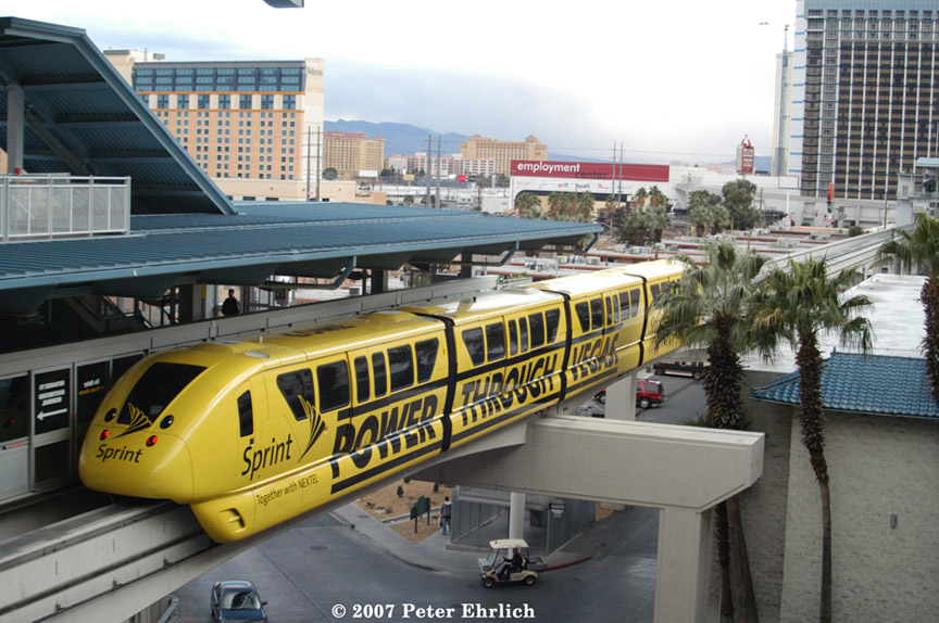 (207k, 864x574)<br><b>Country:</b> United States<br><b>City:</b> Las Vegas, NV<br><b>System:</b> Las Vegas Monorail<br><b>Location:</b> Harrah's/Imperial Palace <br><b>Car:</b>  3 <br><b>Photo by:</b> Peter Ehrlich<br><b>Date:</b> 1/12/2007<br><b>Notes:</b> Leaving Harrah's Station southbound, trailing view.<br><b>Viewed (this week/total):</b> 0 / 2146