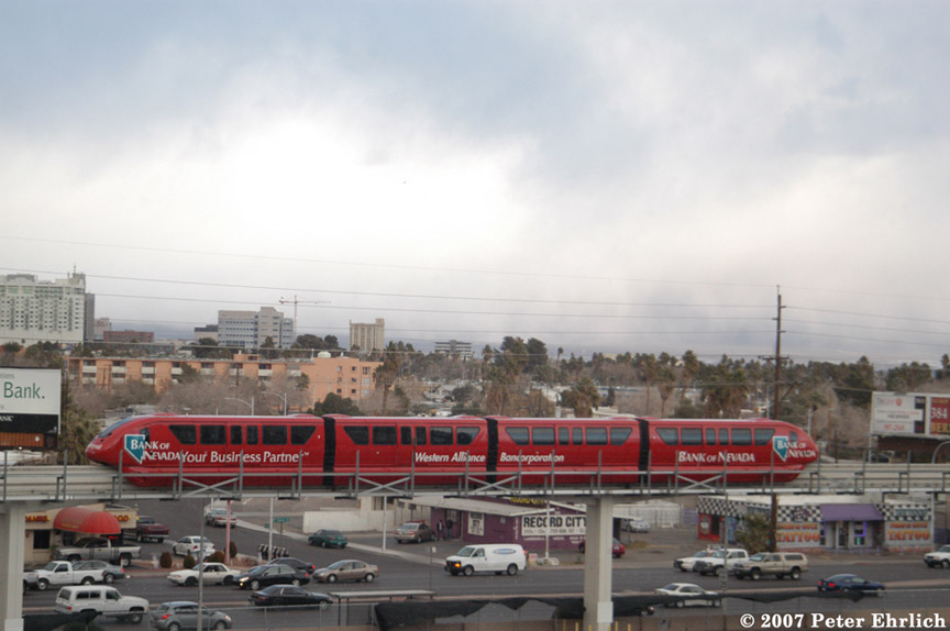 (144k, 864x574)<br><b>Country:</b> United States<br><b>City:</b> Las Vegas, NV<br><b>System:</b> Las Vegas Monorail<br><b>Location:</b> Sahara <br><b>Car:</b>  7 <br><b>Photo by:</b> Peter Ehrlich<br><b>Date:</b> 1/12/2007<br><b>Notes:</b> Pullout train north of Sahara Station.<br><b>Viewed (this week/total):</b> 4 / 1753