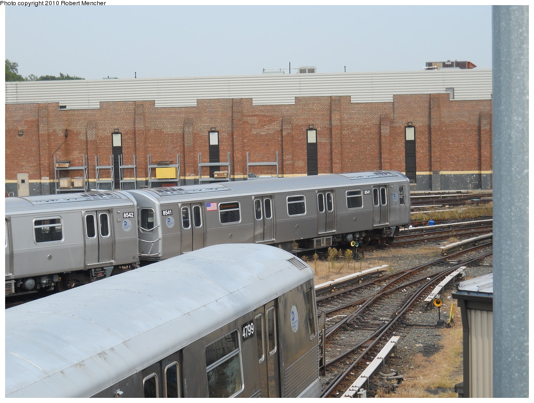 (289k, 1044x788)<br><b>Country:</b> United States<br><b>City:</b> New York<br><b>System:</b> New York City Transit<br><b>Location:</b> East New York Yard/Shops<br><b>Car:</b> R-160A-1 (Alstom, 2005-2008, 4 car sets)  8541 <br><b>Photo by:</b> Robert Mencher<br><b>Date:</b> 8/9/2010<br><b>Viewed (this week/total):</b> 0 / 291