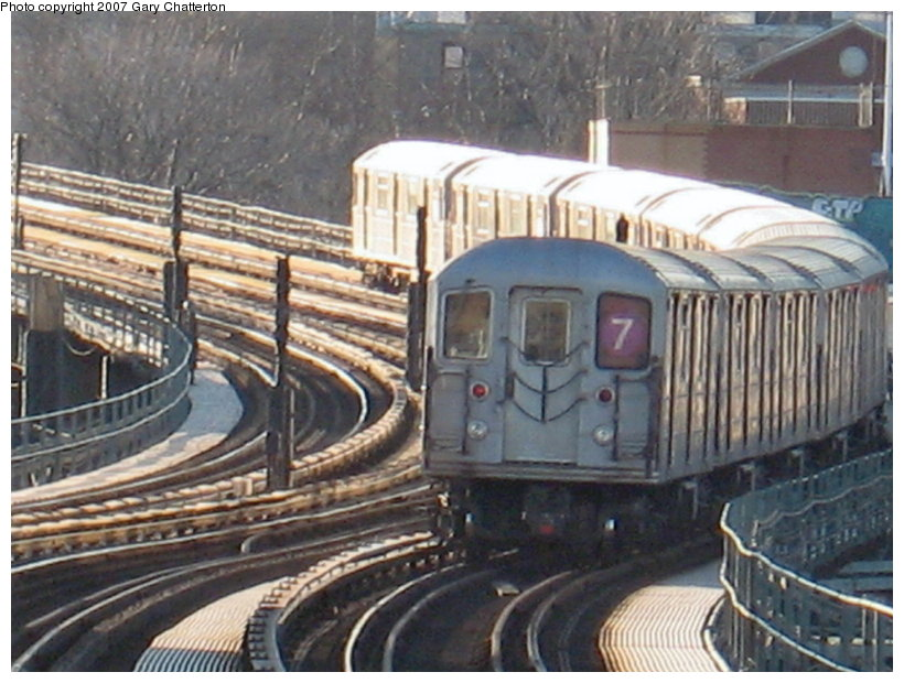 (122k, 820x620)<br><b>Country:</b> United States<br><b>City:</b> New York<br><b>System:</b> New York City Transit<br><b>Line:</b> IRT Flushing Line<br><b>Location:</b> 61st Street/Woodside <br><b>Route:</b> 7<br><b>Car:</b> R-62A (Bombardier, 1984-1987)  2078 <br><b>Photo by:</b> Gary Chatterton<br><b>Date:</b> 1/17/2007<br><b>Viewed (this week/total):</b> 2 / 1851