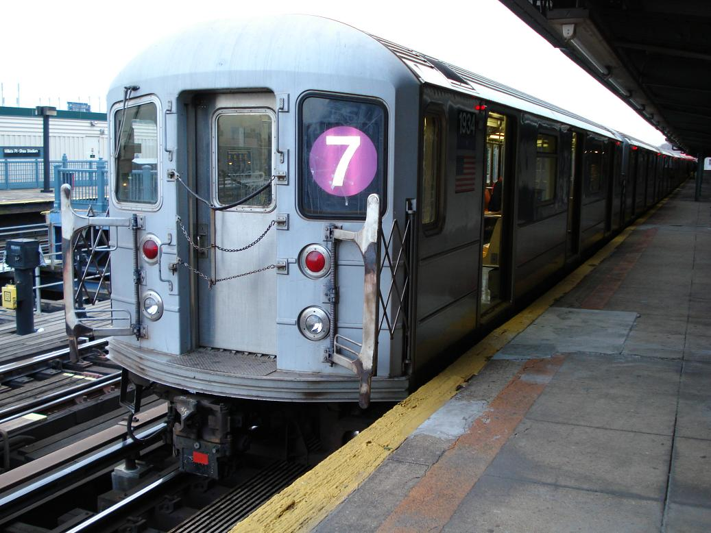 (137k, 1037x778)<br><b>Country:</b> United States<br><b>City:</b> New York<br><b>System:</b> New York City Transit<br><b>Line:</b> IRT Flushing Line<br><b>Location:</b> Willets Point/Mets (fmr. Shea Stadium) <br><b>Route:</b> 7<br><b>Car:</b> R-62A (Bombardier, 1984-1987)  1934 <br><b>Photo by:</b> Michael Hodurski<br><b>Date:</b> 1/21/2007<br><b>Viewed (this week/total):</b> 5 / 1698