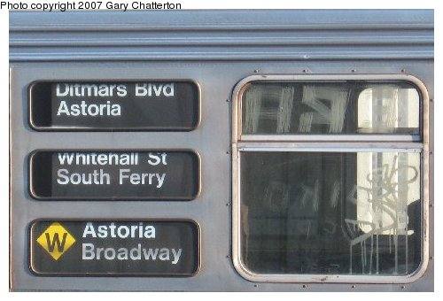 (39k, 500x340)<br><b>Country:</b> United States<br><b>City:</b> New York<br><b>System:</b> New York City Transit<br><b>Line:</b> BMT Astoria Line<br><b>Location:</b> 30th/Grand Aves. <br><b>Route:</b> W<br><b>Car:</b> R-32 (Budd, 1964)  3942 <br><b>Photo by:</b> Gary Chatterton<br><b>Date:</b> 11/21/2006<br><b>Notes:</b> Destination rollsigns.<br><b>Viewed (this week/total):</b> 0 / 3495