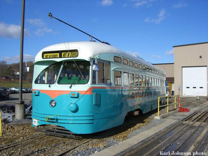 (155k, 720x540)<br><b>Country:</b> United States<br><b>City:</b> Brookville, PA<br><b>System:</b> Brookville Equipment<br><b>Car:</b> SF MUNI PCC (Ex-NJTransit, Ex-Twin City) (St. Louis Car Co., 1946-1947)  1076 <br><b>Photo by:</b> Karl Johnson<br><b>Collection of:</b> Peter Ehrlich<br><b>Date:</b> 1/2007<br><b>Viewed (this week/total):</b> 3 / 1467