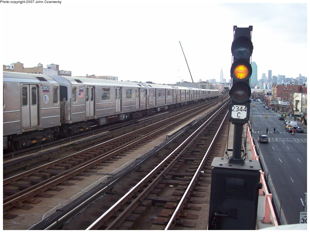 (158k, 1044x787)<br><b>Country:</b> United States<br><b>City:</b> New York<br><b>System:</b> New York City Transit<br><b>Line:</b> IRT Flushing Line<br><b>Location:</b> 46th Street/Bliss Street <br><b>Route:</b> 7<br><b>Car:</b> R-62A (Bombardier, 1984-1987)  2049 <br><b>Photo by:</b> John Czarnecky<br><b>Date:</b> 1/26/2007<br><b>Viewed (this week/total):</b> 0 / 1629