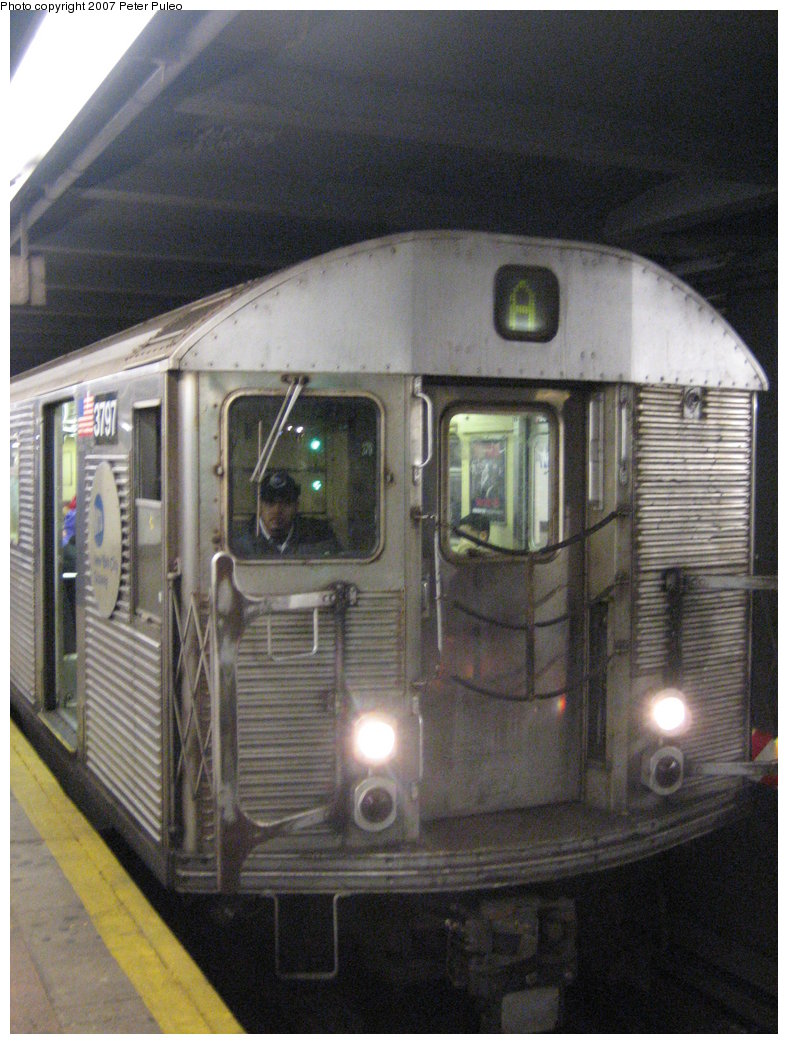 (181k, 788x1044)<br><b>Country:</b> United States<br><b>City:</b> New York<br><b>System:</b> New York City Transit<br><b>Line:</b> IND 8th Avenue Line<br><b>Location:</b> Jay St./Metrotech (Borough Hall) <br><b>Route:</b> A<br><b>Car:</b> R-32 (Budd, 1964)  3797 <br><b>Photo by:</b> Peter Puleo<br><b>Date:</b> 1/13/2007<br><b>Viewed (this week/total):</b> 2 / 1950