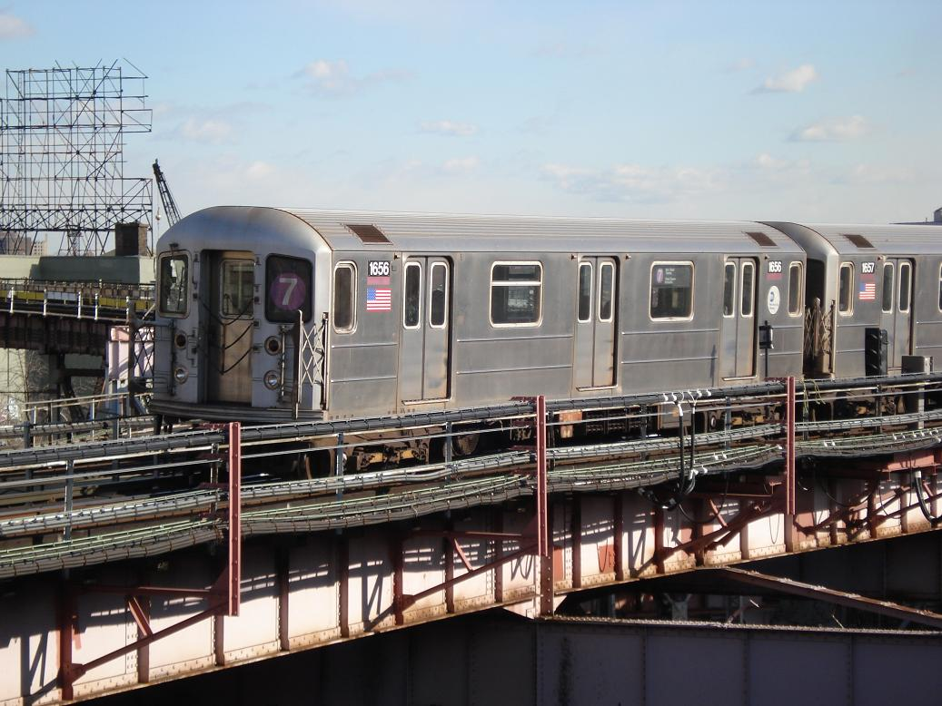 (144k, 1037x778)<br><b>Country:</b> United States<br><b>City:</b> New York<br><b>System:</b> New York City Transit<br><b>Line:</b> IRT Flushing Line<br><b>Location:</b> Queensborough Plaza <br><b>Route:</b> 7<br><b>Car:</b> R-62A (Bombardier, 1984-1987)  1656 <br><b>Photo by:</b> Michael Hodurski<br><b>Date:</b> 1/26/2007<br><b>Viewed (this week/total):</b> 1 / 1511