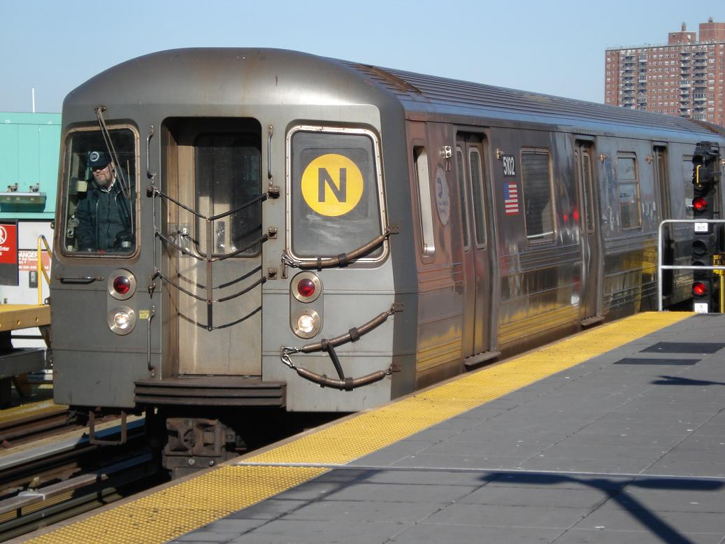 (124k, 1037x778)<br><b>Country:</b> United States<br><b>City:</b> New York<br><b>System:</b> New York City Transit<br><b>Location:</b> Coney Island/Stillwell Avenue<br><b>Route:</b> N<br><b>Car:</b> R-68A (Kawasaki, 1988-1989)  5102 <br><b>Photo by:</b> Michael Hodurski<br><b>Date:</b> 1/31/2007<br><b>Viewed (this week/total):</b> 2 / 1542