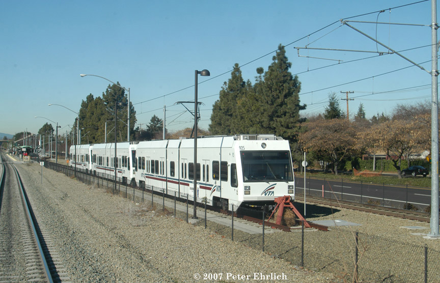 (196k, 864x556)<br><b>Country:</b> United States<br><b>City:</b> San Jose, CA<br><b>System:</b> Santa Clara VTA<br><b>Line:</b> VTA Tasman West/Mountain View<br><b>Location:</b> Mountain View <br><b>Car:</b> VTA Kinki-Sharyo 925 <br><b>Photo by:</b> Peter Ehrlich<br><b>Date:</b> 1/18/2007<br><b>Notes:</b> Three cars in layup pocket track south of Downtown Mountain View Station.<br><b>Viewed (this week/total):</b> 1 / 1136