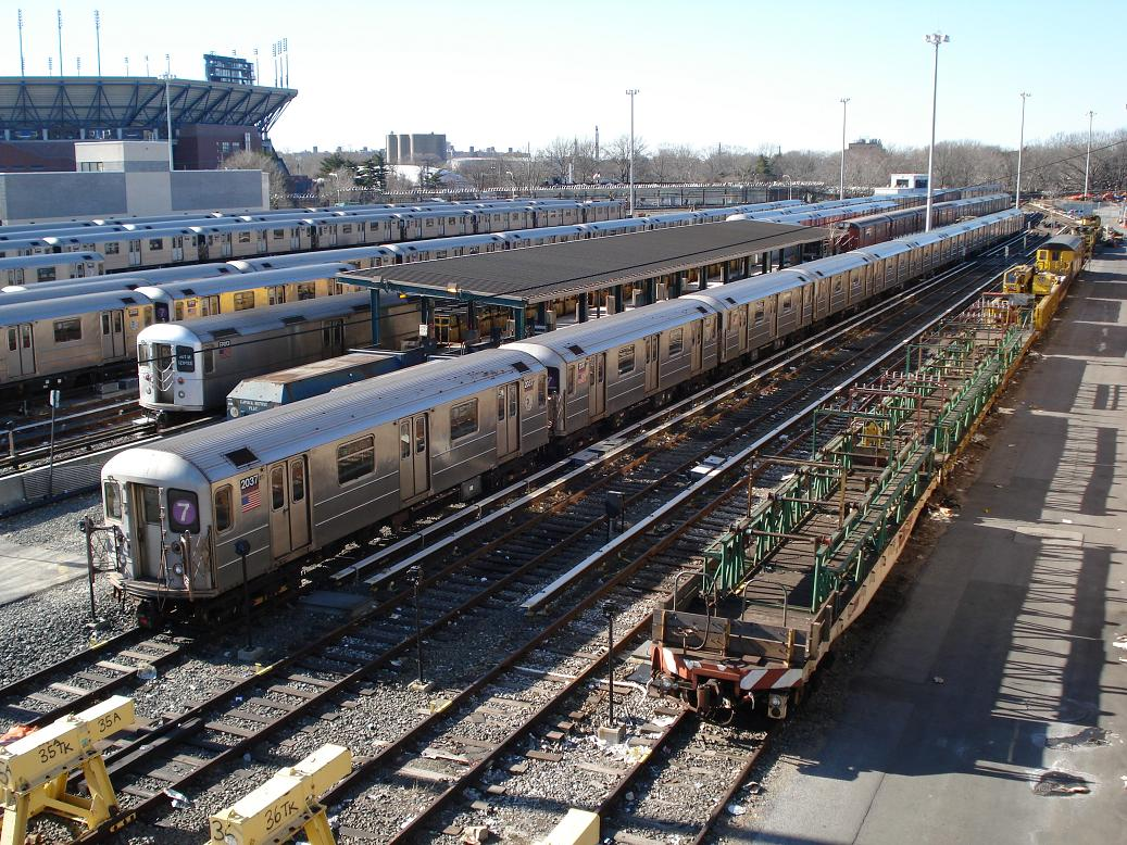 (218k, 1037x778)<br><b>Country:</b> United States<br><b>City:</b> New York<br><b>System:</b> New York City Transit<br><b>Location:</b> Corona Yard<br><b>Car:</b> R-62A (Bombardier, 1984-1987)  2037/2137 <br><b>Photo by:</b> Michael Hodurski<br><b>Date:</b> 2/4/2007<br><b>Viewed (this week/total):</b> 1 / 1834