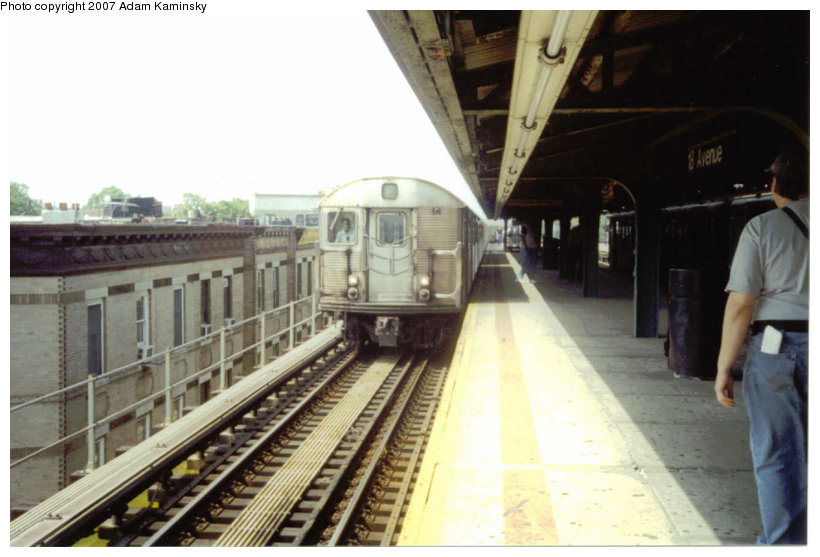 (97k, 820x557)<br><b>Country:</b> United States<br><b>City:</b> New York<br><b>System:</b> New York City Transit<br><b>Line:</b> BMT Culver Line<br><b>Location:</b> 18th Avenue <br><b>Route:</b> F<br><b>Car:</b> R-32 (Budd, 1964)   <br><b>Photo by:</b> Adam Kaminsky<br><b>Viewed (this week/total):</b> 0 / 2181