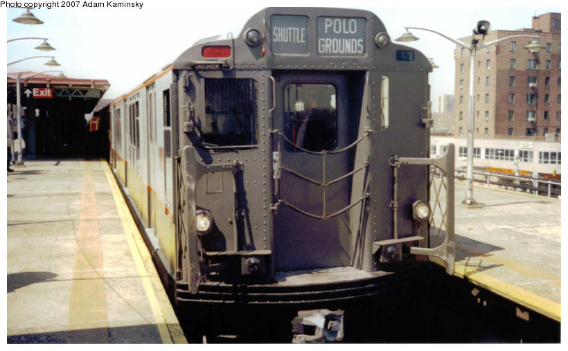 (98k, 820x507)<br><b>Country:</b> United States<br><b>City:</b> New York<br><b>System:</b> New York City Transit<br><b>Line:</b> IRT Pelham Line<br><b>Location:</b> East 177th Street/Parkchester <br><b>Route:</b> Fan Trip<br><b>Car:</b> R-12 (American Car & Foundry, 1948) 5760 <br><b>Photo by:</b> Adam Kaminsky<br><b>Date:</b> 4/17/2004<br><b>Viewed (this week/total):</b> 0 / 1653