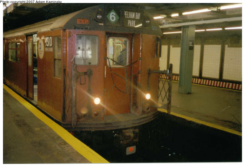 (94k, 820x559)<br><b>Country:</b> United States<br><b>City:</b> New York<br><b>System:</b> New York City Transit<br><b>Line:</b> IRT Pelham Line<br><b>Location:</b> Hunts Point Avenue <br><b>Route:</b> Fan Trip<br><b>Car:</b> R-33 World's Fair (St. Louis, 1963-64) 9310 <br><b>Photo by:</b> Adam Kaminsky<br><b>Date:</b> 12/2003<br><b>Viewed (this week/total):</b> 2 / 2459