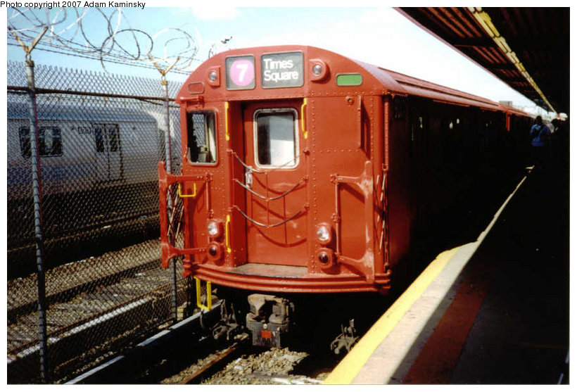 (126k, 820x557)<br><b>Country:</b> United States<br><b>City:</b> New York<br><b>System:</b> New York City Transit<br><b>Location:</b> Rockaway Park Yard<br><b>Route:</b> Fan Trip<br><b>Car:</b> R-33 Main Line (St. Louis, 1962-63) 9017 <br><b>Photo by:</b> Adam Kaminsky<br><b>Date:</b> 6/19/2004<br><b>Viewed (this week/total):</b> 0 / 1308