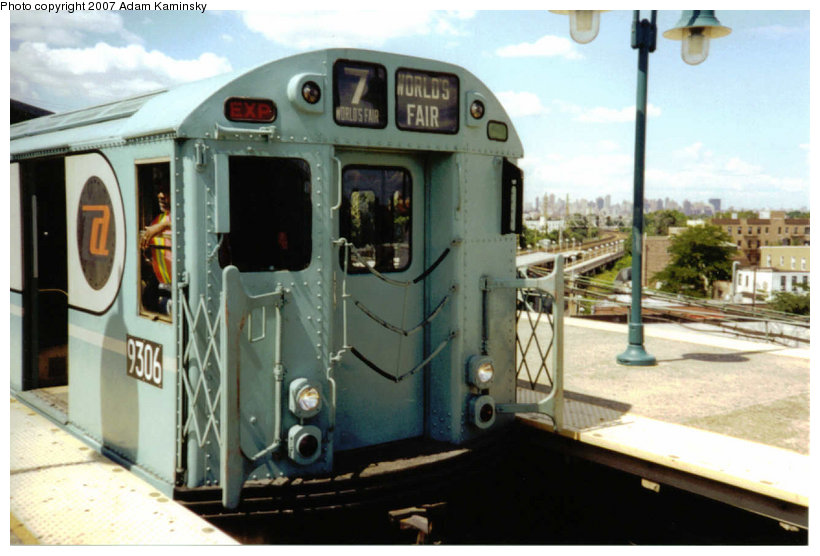(105k, 820x556)<br><b>Country:</b> United States<br><b>City:</b> New York<br><b>System:</b> New York City Transit<br><b>Line:</b> IRT Flushing Line<br><b>Location:</b> 61st Street/Woodside <br><b>Route:</b> Fan Trip<br><b>Car:</b> R-33 World's Fair (St. Louis, 1963-64) 9306 <br><b>Photo by:</b> Adam Kaminsky<br><b>Date:</b> 8/23/2003<br><b>Viewed (this week/total):</b> 2 / 1387