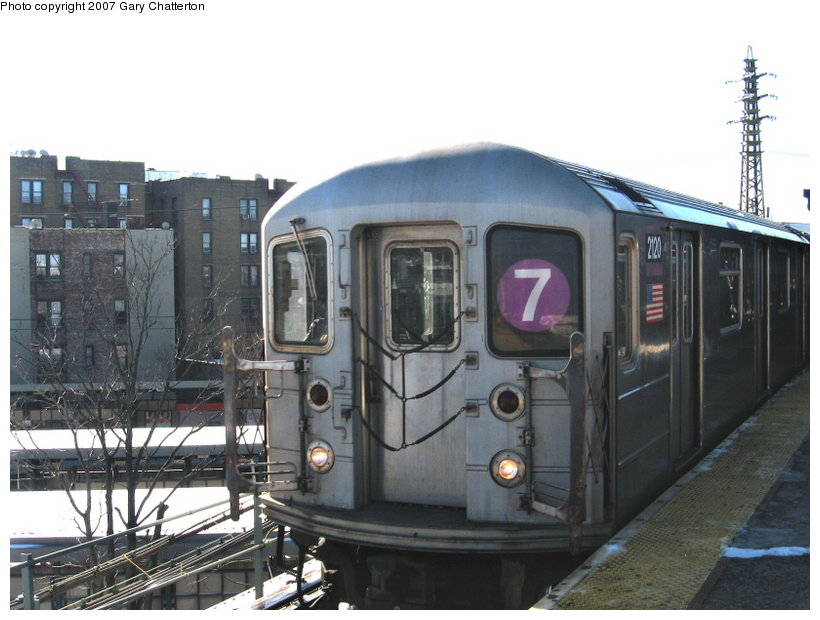 (101k, 820x620)<br><b>Country:</b> United States<br><b>City:</b> New York<br><b>System:</b> New York City Transit<br><b>Line:</b> IRT Flushing Line<br><b>Location:</b> 61st Street/Woodside <br><b>Route:</b> 7<br><b>Car:</b> R-62A (Bombardier, 1984-1987)  2120 <br><b>Photo by:</b> Gary Chatterton<br><b>Date:</b> 2/15/2007<br><b>Viewed (this week/total):</b> 1 / 1500