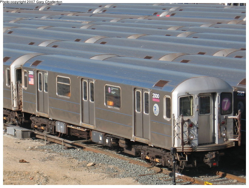 (124k, 820x620)<br><b>Country:</b> United States<br><b>City:</b> New York<br><b>System:</b> New York City Transit<br><b>Location:</b> Corona Yard<br><b>Car:</b> R-62A (Bombardier, 1984-1987)  2000 <br><b>Photo by:</b> Gary Chatterton<br><b>Date:</b> 2/10/2007<br><b>Viewed (this week/total):</b> 2 / 2157