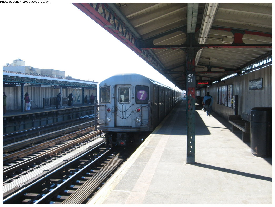 (161k, 1044x788)<br><b>Country:</b> United States<br><b>City:</b> New York<br><b>System:</b> New York City Transit<br><b>Line:</b> IRT Flushing Line<br><b>Location:</b> 82nd Street/Jackson Heights <br><b>Route:</b> 7<br><b>Car:</b> R-62A (Bombardier, 1984-1987)   <br><b>Photo by:</b> Jorge Catayi<br><b>Date:</b> 2/19/2007<br><b>Viewed (this week/total):</b> 4 / 1285
