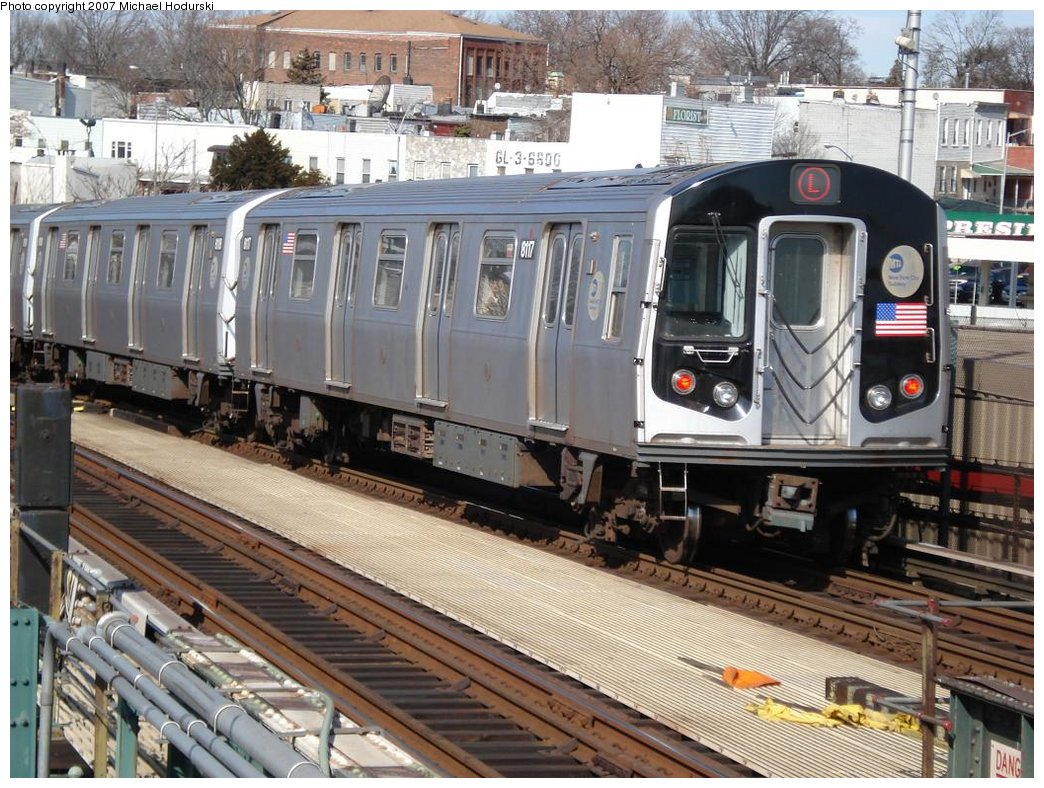 (232k, 1044x788)<br><b>Country:</b> United States<br><b>City:</b> New York<br><b>System:</b> New York City Transit<br><b>Line:</b> BMT Canarsie Line<br><b>Location:</b> Broadway Junction <br><b>Route:</b> L<br><b>Car:</b> R-143 (Kawasaki, 2001-2002) 8117 <br><b>Photo by:</b> Michael Hodurski<br><b>Date:</b> 2/23/2007<br><b>Viewed (this week/total):</b> 1 / 1627
