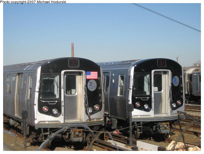 (76k, 660x500)<br><b>Country:</b> United States<br><b>City:</b> New York<br><b>System:</b> New York City Transit<br><b>Location:</b> Coney Island Yard<br><b>Car:</b> R-160B (Kawasaki, 2005-2008)  8717/8748 <br><b>Photo by:</b> Michael Hodurski<br><b>Date:</b> 1/4/2007<br><b>Viewed (this week/total):</b> 4 / 3595