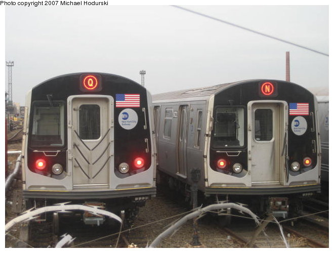 (70k, 660x500)<br><b>Country:</b> United States<br><b>City:</b> New York<br><b>System:</b> New York City Transit<br><b>Location:</b> Coney Island Yard<br><b>Car:</b> R-160A-2 (Alstom, 2005-2008, 5 car sets)  8653 <br><b>Photo by:</b> John Dooley<br><b>Collection of:</b> Michael Hodurski<br><b>Date:</b> 12/11/2006<br><b>Notes:</b> With R160B 8843 on test track.<br><b>Viewed (this week/total):</b> 4 / 5040