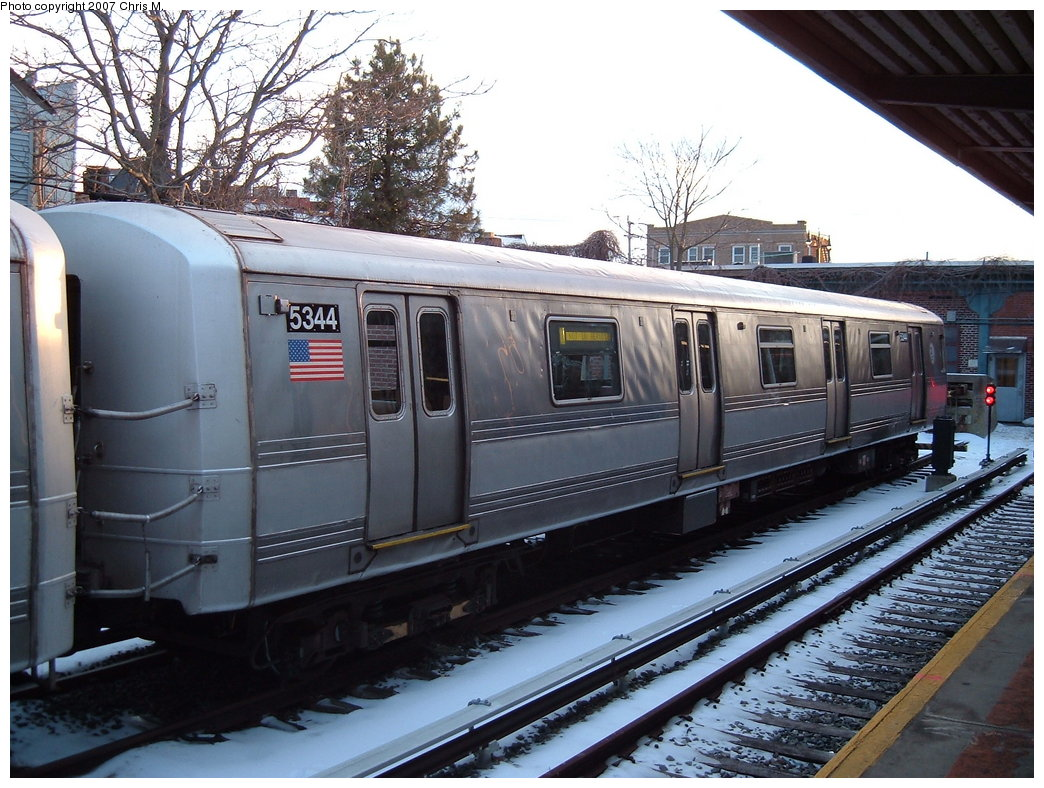 (212k, 1044x788)<br><b>Country:</b> United States<br><b>City:</b> New York<br><b>System:</b> New York City Transit<br><b>Location:</b> Rockaway Park Yard<br><b>Car:</b> R-44 (St. Louis, 1971-73) 5344 <br><b>Photo by:</b> Chris M.<br><b>Date:</b> 2/18/2007<br><b>Viewed (this week/total):</b> 3 / 1579